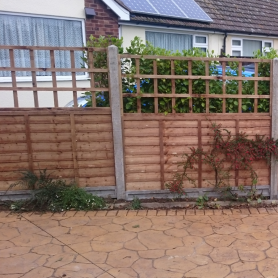 Trellis Panel top concrete slotted posts